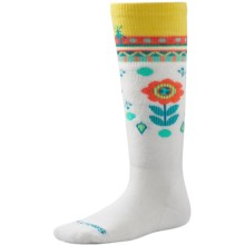 SmartWool Wintersport Flower Patch Socks - Merino Wool (For Little and Big Kids) in White - 2nds