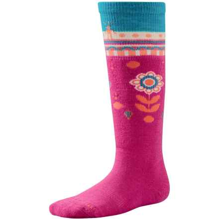SmartWool Wintersport Flower Patch Socks - Merino Wool, Over the Calf (For Little and Big Girls) in Bright Pink - Closeouts
