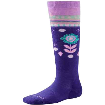 SmartWool Wintersport Flower Patch Socks - Merino Wool, Over the Calf (For Little and Big Girls) in Liberty - Closeouts