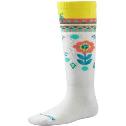 SmartWool Wintersport Flower Patch Socks - Merino Wool, Over the Calf (For Little and Big Girls) in White - Closeouts