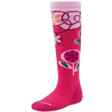 SmartWool Wintersport Flower Patch Socks - Merino Wool, Over the Calf (For Little and Big Kids) in Punch - 2nds