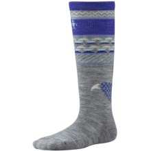 SmartWool Wintersport Fox Socks - Merino Wool,  Over the Calf (For Little and Big Kids) in Light Gray - 2nds