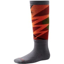 SmartWool Wintersport Lightning Bolt Socks - Merino Wool, Midweight, Over-the-Calf (For Kids) in Graphite - 2nds