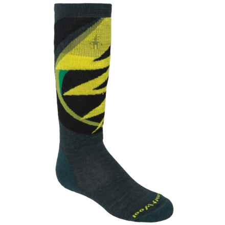 SmartWool Wintersport Lightning Bolt Socks - Merino Wool, Over the Calf (For Little and Big Kids) in Bottle Green - 2nds