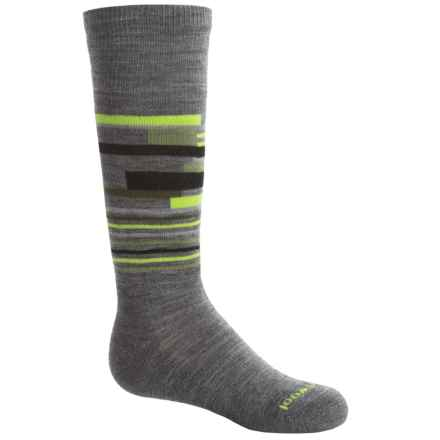 SmartWool Wintersport Midweight Socks - Merino Wool, Over the Calf (For Little and Big Kids) in Medium Grey Heather/Smartwool Green - Closeouts