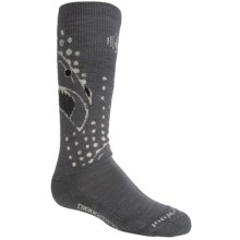 SmartWool Wintersport Shark Socks - Merino Wool, Over the Calf (For Little and Big Kids) in Graphite - 2nds