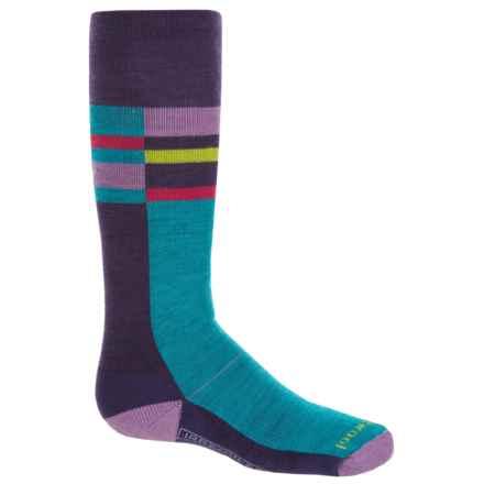 SmartWool Wintersport Stripe Socks - Merino Wool, Crew (For Little and Big Kids) in Mountain Purple - 2nds