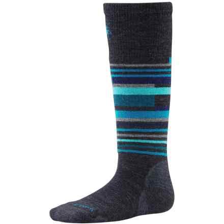 SmartWool Wintersport Stripe Socks - Merino Wool (For Kids) in Charcoal Heather - 2nds