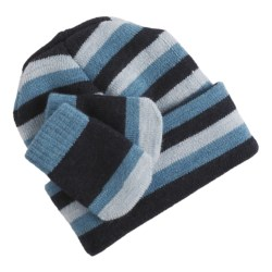 SmartWool Wintersport Striped Hat and Mitten Set - Merino Wool (For Infants) in Navy