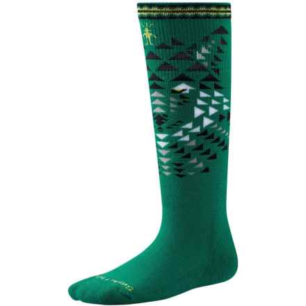 SmartWool Wintersport Wolf Socks - Merino Wool, Over the Calf (For Little and Big Kids) in Alpine Green - Closeouts