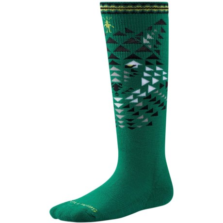 SmartWool Wintersport Wolf Socks - Merino Wool, Over the Calf (For Little and Big Kids) in Alpine Green