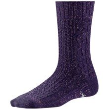 SmartWool Wrapped Cable Socks - Merino Wool, Crew (For Women) in Imperial Purple - 2nds