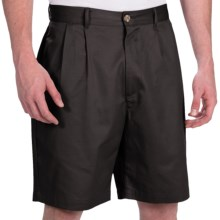 Smith & Tweed Wrinkle-Free Twill Shorts - Double-Reverse Pleats (For Men) in Black - Closeouts