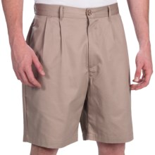 Smith & Tweed Wrinkle-Free Twill Shorts - Double-Reverse Pleats (For Men) in Khaki - Closeouts