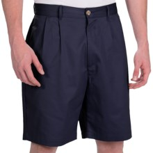 Smith & Tweed Wrinkle-Free Twill Shorts - Double-Reverse Pleats (For Men) in Navy - Closeouts