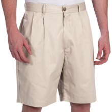Smith & Tweed Wrinkle-Free Twill Shorts - Double-Reverse Pleats (For Men) in Stone - Closeouts