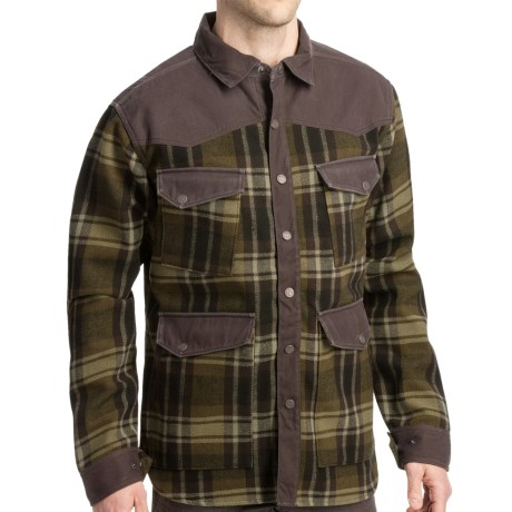 Smith & Wesson Range Shirt Jacket - Flannel Plaid (For Men) in Olive Lager