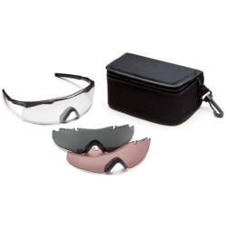 Smith Elite Aegis Eyeshield Safety Glasses - Three Interchangeable Lenses in Black W/Clear/Grey/Ignitor