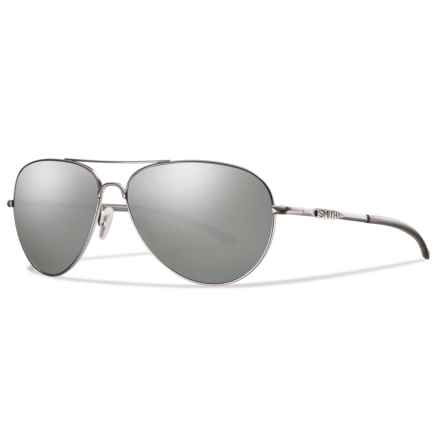 Smith Optics Audible Sunglasses - Polarized Gray-Green ChromaPop® Lenses in Matte Silver/Platnium - Overstock