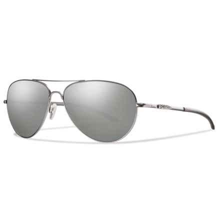 Smith Optics Audible Sunglasses - Polarized Gray-Green ChromaPop® Lenses in Matte Silver/Platnium - Overstock