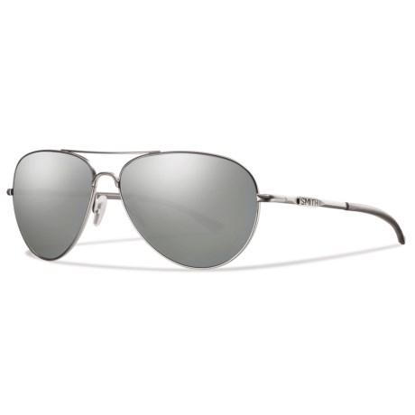 Smith Optics Audible Sunglasses - Polarized Gray-Green ChromaPop® Lenses in Matte Silver/Platnium