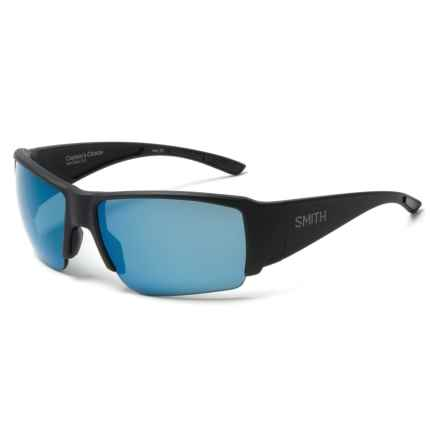 Smith Optics Captains Choice Sunglasses - ChromaPop Polarized Lenses in Matte Black/Blue - Overstock