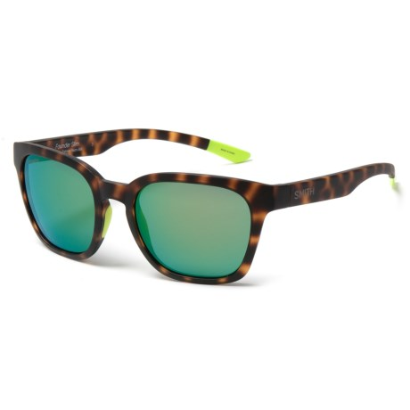Smith Optics Founder Slim Sunglasses - ChromaPop® Lenses in Matte Tortoise Neon/Green Mirror