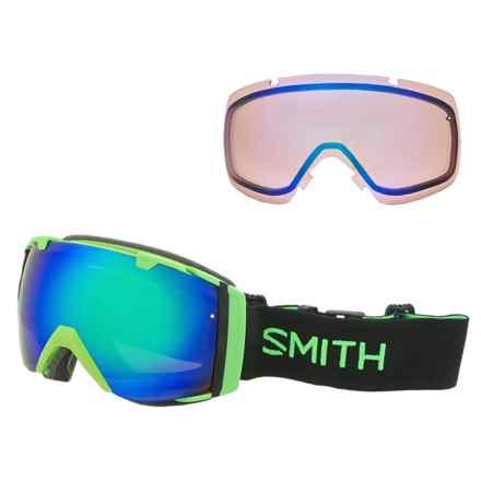 Smith Optics I/O Mirror Ski Goggles - Extra Lens in Reactor Green Sol-X/Blue Sensor - Closeouts