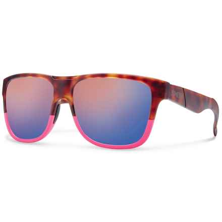 Smith Optics Lowdown XL Sunglasses in Matte Tortoise Shocking Pink/Blue Flash Mirror - Closeouts