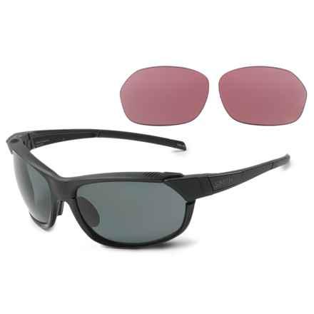 Smith Optics PivLock Overdrive Sunglasses - Polarized Carbonic Lenses, Extra Lenses in Black/Gray - Overstock