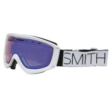 Smith Optics Prophecy Ski Goggles in White Block/Blue Sensor Mirror - Closeouts