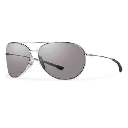 Smith Optics Rockford Slim Sunglasses - Polarized Carbonic Lenses in Silver/Polar Platinum - Overstock