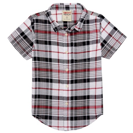 Smith's American Plaid Button-Up Shirt - Short Sleeve (For Little Boys) in Black/Red/White