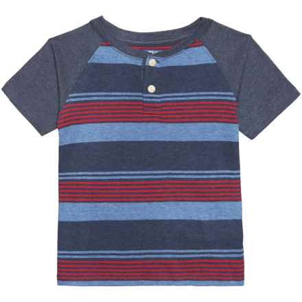 Smith's American Striped Henley T-Shirt - Short Sleeve (For Little Boys) in Grey Blue/Red - Closeouts