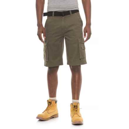 Smith's Workwear Belted Twill Cargo Shorts (For Men) in Dark Olive - Closeouts