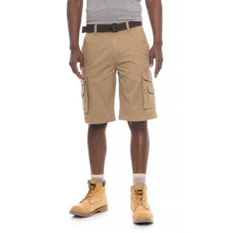 Smith's Workwear Belted Twill Cargo Shorts (For Men) in Khaki