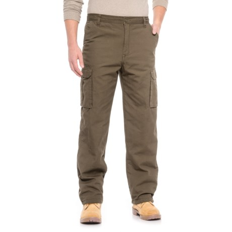 Smith's Workwear Fleece-Lined Canvas Cargo Pants (For Men) in Dark Olive