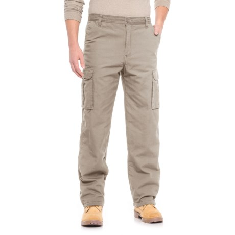 Smith's Workwear Fleece-Lined Canvas Cargo Pants (For Men) in Dusty Khaki