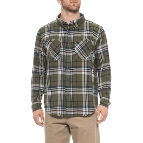 Smith's Workwear Full Swing Flannel Shirt - Button Front, Long Sleeve (For Men) in Olive