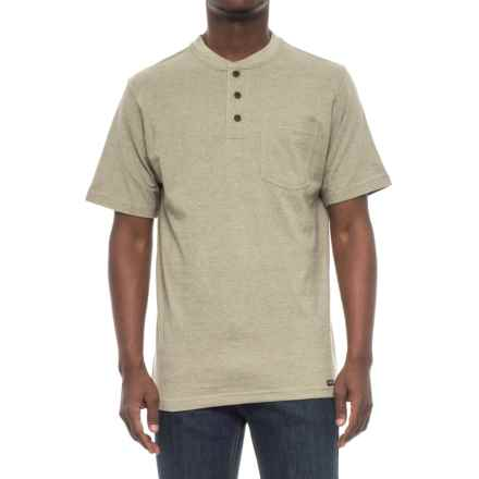 Smith's Workwear Henley Crew Pocket T-Shirt - Short Sleeve (For Men) in Sage Heather - Closeouts