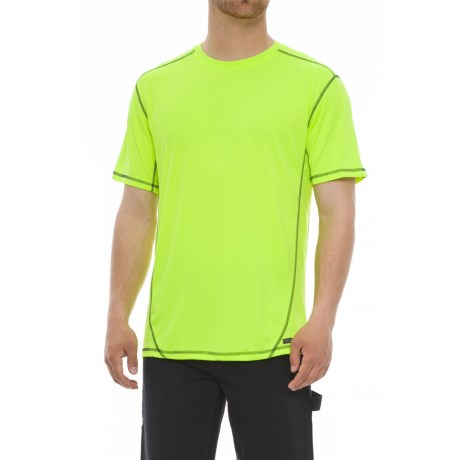 Smith's Workwear High-Performance Wicking T-Shirt - Short Sleeve (For Men) in High Vis Yellow/Navy