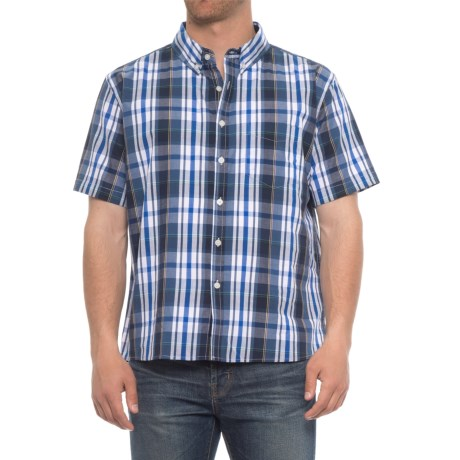 Smith's Workwear Woven Plaid Shirt - Short Sleeve (For Men) in Blue Plaid