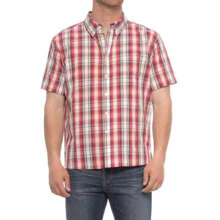 Smith's Workwear Woven Plaid Shirt - Short Sleeve (For Men) in Red Plaid - Closeouts