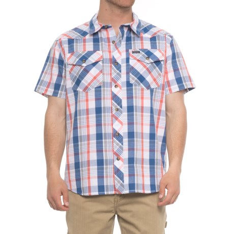 Smith's Workwear Woven Two-Pocket Shirt - Short Sleeve (For Men) in Blue Plaid