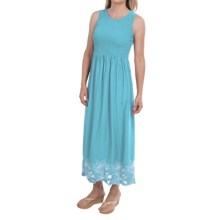 Smocked Embroidered Maxi Dress - Sleeveless (For Women) in Blue - 2nds