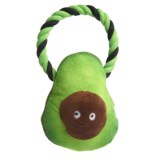 Snax Avocado Plush Dog Toy with Rope - Squeaker