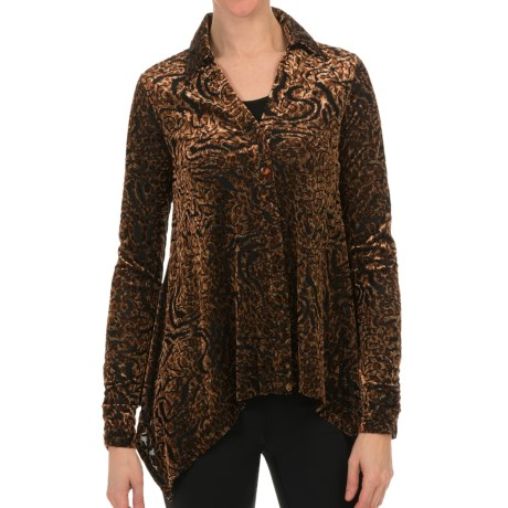 Sno Skins Burnout Velvet Print Shirt - Long Sleeve (For Women) in Dragon