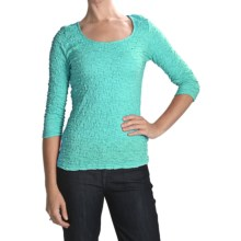 Sno Skins Cotton Pucker Shirt - Ballet Neck, 3/4 Sleeve (For Women) in Aqua - Closeouts