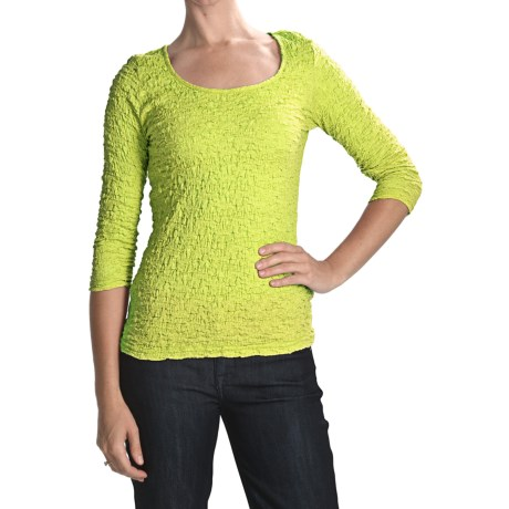 Sno Skins Cotton Pucker Shirt - Ballet Neck, 3/4 Sleeve (For Women) in Limon