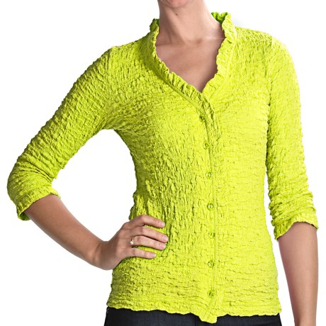 Sno Skins Cotton Pucker Shirt - Ballet Neckline, 3/4 Sleeve (For Women) in Limon